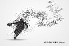 Basketball player of a silhouette from particle. Background and text on a separate layer. color can be changed in one click Royalty Free Stock Photography