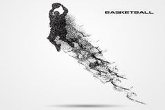 Basketball player of a silhouette from particle. Background and text on a separate layer. color can be changed in one click Royalty Free Stock Image