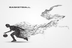Basketball player of a silhouette from particle. Background and text on a separate layer. color can be changed in one click Royalty Free Stock Photo