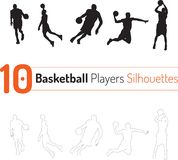 Basketball Player Silhouettes Outline Vector royalty free illustration