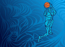 Basketball player Slam Dunk Silhouette. Basketball player Slam Dunk Line Art Silhouette. Creative vector illustration on blue background Stock Photography