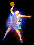 Basketball Player for Sports concept. Basketball Player in action, Creative abstract background with explosion, Stylish Poster, Banner or Flyer design for Stock Photo