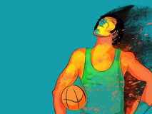 Basketball Player for Sports concept. Creative illustration of Basketball Player with colorful abstract splash for Sports concept Stock Images