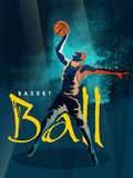 Basketball Player for Sports concept. Creative illustration of Basketball player in playing action on stylish abstract blue background for Sports concept Stock Photo