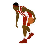 Basketball player standing and dribbling ball Royalty Free Stock Photography