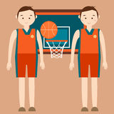 Basketball player standing in front of basket ring with behind vector flat illustration Stock Photo