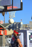 Basketball Player. Making point at Venice Beach, CA famous boardwalk and birth of Dog Town Royalty Free Stock Image