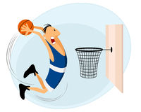 Basketball player. Throws the ball into the basket royalty free illustration
