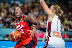 Basketball player, Tina Charles, in action during women`s basketball world cup 2018
