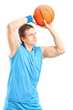 Basketball player about to score a point Stock Image
