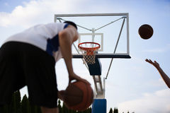 Basketball player training on the court. concept about basketbal Stock Photos