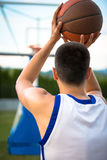 Basketball player training on the court. concept about basketbal Stock Photography