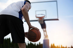 Basketball player training on the court. concept about basketbal Royalty Free Stock Images