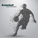 Basketball player of the triangles. Background and text on a separate layer, color can be changed in one click royalty free illustration