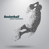 Basketball player of the triangles. Background and text on a separate layer, color can be changed in one click vector illustration