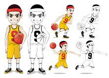 Basketball Player Vector Character Set  with Line Drawing Version Royalty Free Stock Photos