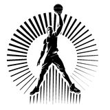 Basketball player. Vector illustration in the engraving style vector illustration