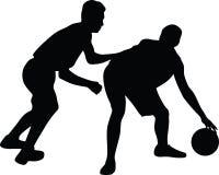 Basketball player vector. Two man play basketball silhouette vector Stock Photo