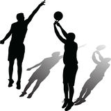 Basketball player vector. Two man play basketball silhouette vector with shadow Royalty Free Stock Photography