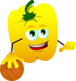 Basketball player yellow bell pepper Stock Photo