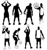 Basketball players team silhouettes in action basket ball player silhouette training poses sport vector isolated black on white Stock Image