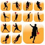 Basketball Players. Set of various basketball players Stock Photo