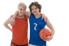 Basketball players. Two basketball players isolated on white background Royalty Free Stock Photos