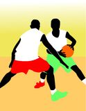 Basketball players. Vector illustration imaging two basketball players Stock Photo