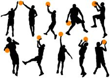Basketball players. Group of basketball players in action  illustration Stock Photos