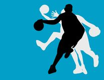 Basketball players. On blue background Stock Photography