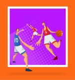 Basketball players in abstract flat style. Men playing with a basketball ball. Template for sport poster. Vector. Basketball players in abstract flat style. Men Stock Photo