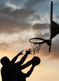 Basketball players in action. Two basketball players in action Royalty Free Stock Photos