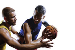 Basketball players in action isolated on white close-up Stock Images