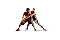 Basketball players in action isolated on white Stock Photos