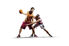 Basketball players in action isolated on white Stock Images