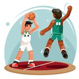 Basketball players ball throw attack protection characters team play flat design vector illustration. Basketball players ball throw protection attack characters vector illustration