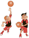 Basketball players cartoon, vector royalty free stock photography