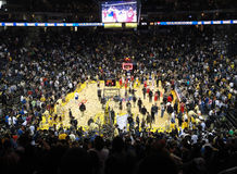 Basketball Players celebrate the finishing of game. OAKLAND, CA - JANUARY 17: Nets Vs. Warriors: Basketball Players celebrate the finishing of game as confetti Stock Images
