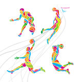 Basketball players collection vector. Set of 4 abstract multicolor  basketball players Stock Images
