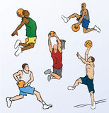 Basketball Players Dunking. This illustration shows several basketball players that are about to slam dunk a basketball. Two athletes are about to take off, two stock illustration