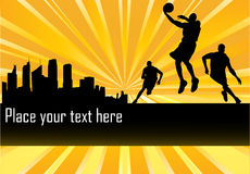 Basketball Players in front of city Royalty Free Stock Photos