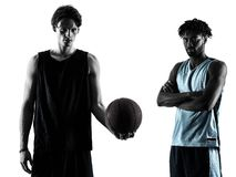 Basketball players men  isolated silhouette shadow. Two basketball players men isolated in silhouette shadow on white background Stock Photo