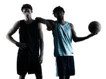 Basketball players men  isolated silhouette shadow Royalty Free Stock Photography