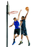 Basketball players men. Two basketball players men  on white background Stock Photo
