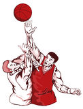 Basketball players rebounding. Retro style vector art of 2 basketball players competing for the ball vector illustration