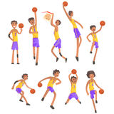 Basketball Players Of Same Team Action Stickers Royalty Free Stock Photo