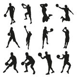 Basketball players, set of vector silhouettes Royalty Free Stock Photo