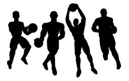 Basketball players silhouette Royalty Free Stock Image