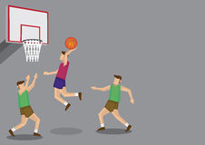 Basketball Players Slam Dunk Shot Vector Illustration. Three basketball players with one jumping high for a slam dunk shot. Vector cartoon illustration isolated Stock Photos