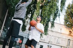 The basketball players stock photography